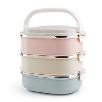 家用时尚不锈钢方形保温饭盒多层渐变色保温桶密封学生便当盒