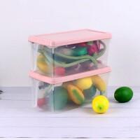 冰箱收纳盒食物长方形鸡蛋蔬菜抽屉式塑料储物整理盒冷冻家居日用收纳用品收纳箱盒 小号粉色 两个装