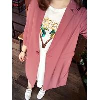 大码女装秋装秋装新款韩版时尚薄款风衣胖MM时尚百搭长款雪纺外套 锈红色 现货 X