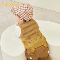 巴拉巴拉宝宝马甲秋冬外穿婴儿背心保暖加绒加厚萌趣童真