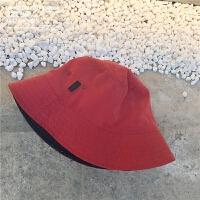 早秋新品日式双面纯色百搭渔夫帽子男女绒布休闲文艺盆帽遮阳帽 红色 反面黑色(现货) M(56-58cm)