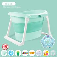 家用游泳池婴儿家用游泳池0-12个月儿童可折叠免充气3岁新生的儿保温游泳桶1 晨雾绿-4戏水+12礼+帽+洗头杯 +水
