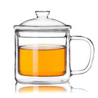 350ml复古透明大小茶缸马克杯双层玻璃杯咖啡杯带盖耐热隔热水杯子
