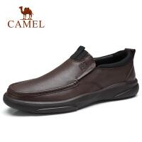 camel骆驼男鞋 秋季新款男士休闲牛皮鞋防滑工作差旅英伦乐福鞋