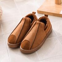 男士棉拖鞋包跟冬季居家室内加绒保暖防滑加厚底防水外穿棉鞋靴子 浅咖 8010款