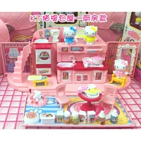过家家娃娃屋女孩儿童过家家厨房玩具娃娃公主房间女孩礼物手提包屋凯蒂猫房子别墅 KT猫提包屋 - 厨房款