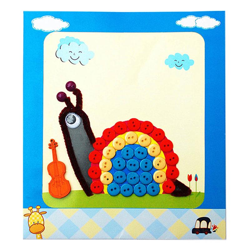 梦童工坊 diy纽扣画 儿童手工制作钮扣子幼儿园粘贴画装饰画玩具_蜗牛