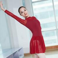 练功服舞蹈服女形体服长袖蕾丝芭蕾舞服 女式连体服