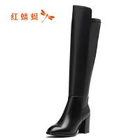 红蜻蜓女靴2017冬季新款正品时尚优雅粗高跟女鞋长筒过膝靴棉靴子