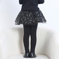 女童打底裤春秋裙裤宝宝纯棉假两件裤裙薄款2018春季新款外穿短裙 黑色 网纱纯棉裙裤