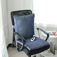 加热坐垫办公室椅垫冬季小插电褥子家用多功能发热暖脚宝电热垫家居日用保暖 坐垫靠垫套装-深蓝 双控恒温