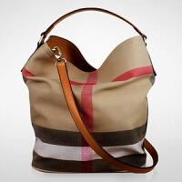 款女包帆布包格水桶包休闲女士手提包时尚百搭单肩斜挎女包潮