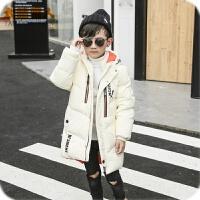 童装17反季装太阳雪人男童外套韩版大衣加厚中长款儿童羽绒服 米白色