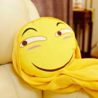 创意表情包抱枕毛绒暖手抱枕插手捂被子两用三合一毯子 滑稽脸