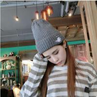 帽子 毛线帽 保暖帽 韩国毛线帽子女针织帽套头帽男情侣可爱卡通图案毛线帽保暖潮