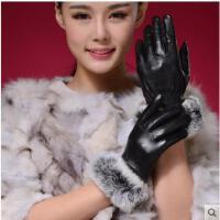 女士手套水洗皮全掌触屏手套兔毛袖口时尚优雅手套