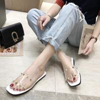 凉拖 女士小熊底透明方头铆钉一字拖2019年夏季新款韩版时尚女式休闲女鞋平底鞋
