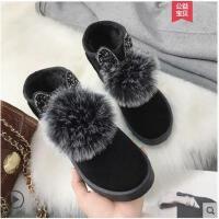冬季新款女靴百搭韩版短筒短靴加绒保暖棉鞋女学生毛毛雪地靴