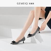 戈美其细跟单鞋女春季新款欧美百搭尖头高跟鞋浅口工作职业女鞋