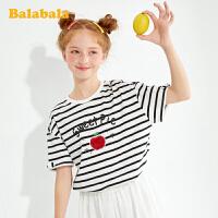 巴拉巴拉女童t恤儿童短袖夏装大童打底衫条纹印花上衣女