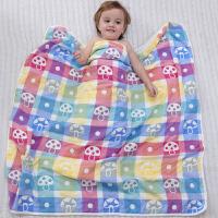 加大婴儿纱布浴巾纯棉宝宝浴巾新生儿洗澡盖毯儿童毛巾被超柔吸水 6层蘑菇 120x150
