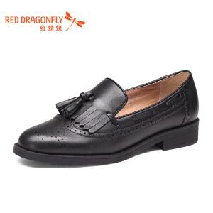 红蜻蜓女鞋2017春季新款粗跟低跟真皮女单鞋圆头流苏舒适小皮鞋女