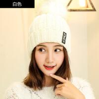 帽子女秋冬时尚韩版加绒帽针织冬天套头保暖护耳毛球百搭包头帽