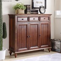 简约美式全实木鞋柜大容量三门储物柜门厅柜客厅欧式家具玄关柜子 胡桃色 整装