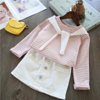 海军风~女童条纹裙子套装 儿童宝宝长袖T恤+短裙两件套2018春新款