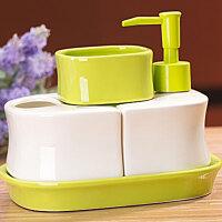 陶瓷卫浴四件套带托盘 洗漱套装绿色 陶瓷卫浴瓶卫生间洗手液瓶新中式浴室洗漱用品液体瓶