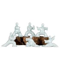 家新中式太极人物禅意陶瓷摆件玄关书柜工艺品创意雕塑装饰品