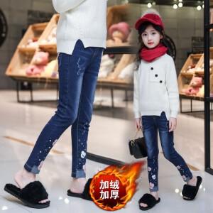 百槿 冬季女童加厚加绒卡通米奇烫钻牛仔裤 中大童加厚加绒牛仔裤