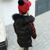 男童棉衣装韩版羽绒1-3岁宝宝2加厚中长款5毛领连帽6潮外套 黑色