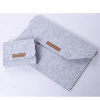 苹果macbook羊毛毡air13笔记本pro13.3寸电脑包15内胆12保护套mac 浅灰魔术贴【送电源包 鼠标垫】