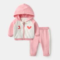 女宝宝春秋套装婴儿纯棉衣服3个月新生儿两件套春装男小童运动服 粉红色 预售 20号发