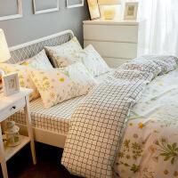 网红小清新床单四件套棉棉田园风被套1.8m床上用品三件套床笠