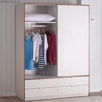 移门推拉门衣柜简约现代简易板式衣柜柜整体组合 新柚木色 2门
