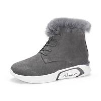 camel骆驼女鞋冬季新品时尚舒适兔毛潮酷靴子厚底保暖雪地靴