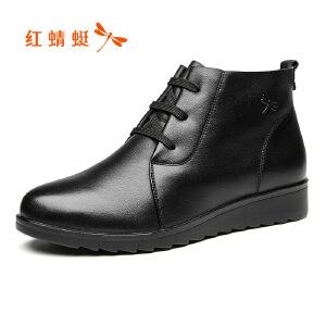 红蜻蜓女鞋2017秋季新品舒适休闲圆头系带日常低帮鞋单鞋百搭女鞋