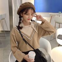秋冬女装韩版宽松系带假两件拼色V领灯芯绒长袖T恤打底衫上衣学生