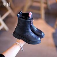 高品质儿童靴子2018秋季新款女童黑色中筒靴软底防滑皮靴短靴棉靴