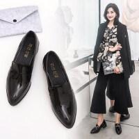 韩版百搭粗跟女士单鞋 学院风平底学生女鞋 新款小皮鞋英伦风女士黑色职业鞋