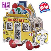 迷你车玩具车系列 校车 英文原版 Mini Wheels School Bus 纸板书 玩具书车车书