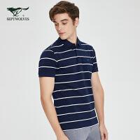 七匹狼翻领短袖T恤男2020夏季新款青年男士条纹POLO衫男装潮体恤