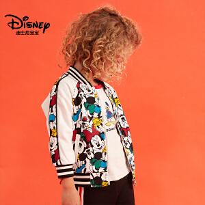 迪士尼宝宝森林探险男童针织棒球服2018秋款上新