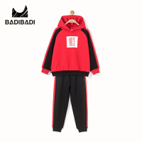 【3件2折:79.8】巴拉巴拉旗下 巴帝巴帝男童黑红加绒套装时尚卫衣裤子2018冬季