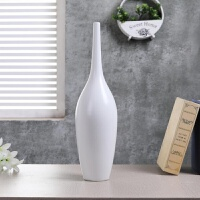 景德镇陶瓷花瓶三件套 现代简约纯白色小口电视柜中式摆件工艺品 大号高45CM 宽 12CM