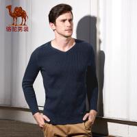 骆驼男装 秋季新款时尚V领修身青年套头长袖毛衣男士休闲毛衣