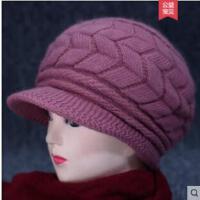 老年人帽子女女士毛线帽逛街中老年加绒保暖针织时装帽中年