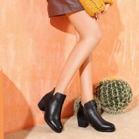 camel骆驼秋季新款女鞋英伦复古粗高跟女短靴牛皮保暖加绒靴子